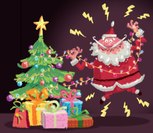 Cartoon Santa Claus having an electric shock accident at christm